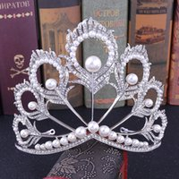 2021 new Stunning Silver White Crystals Full Wedding Tiaras And Crowns Bridal Tiaras Accessories Vintage Baroque Bridal Tiaras Crowns 12141
