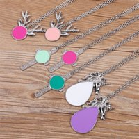 Wholesale pendent necklaces resale online - Christmas Gift Personalized Blanks Enamel Disc Reindeer Pendent Necklace