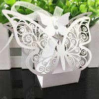 Wholesale butterflies gifts resale online - 50pcs Butterfly Wedding Candy Box Sweets Gift Favors Boxes With Ribbon Party Decoration Wedding Birthday Party Event Supplies