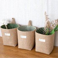 Wholesale jute clothes for sale - Group buy Storage Baskets Dot Striped Storage Oranization Door Hanging Wall Storage Bag Linen Desktop Round Basket Jute Basket GWC4184