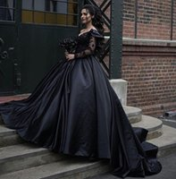 gothic victorian long sleeve gowns 2021 - Elegant Dubai Arabic Luxury Cheap Black Victorian Gothic Wedding Dresses Plus Size One Shoulder Long Sleeves Wedding Dress Bridal Gowns