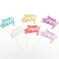 Wholesale topper cakes for sale - Group buy Gold Silver Glitter Happy Birthday Party Cake toppers decoration for kids birthday party favors Baby Shower Decoration Supplies EWD3077