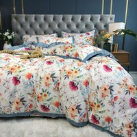Wholesale red flower bedding sets resale online - Luxury Egyptian cotton bedding set blue red flower bloom bedclothes pastoral princess bed linen duvet cover queen king size
