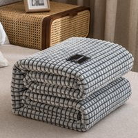 Wholesale bedspreads for queen for sale - Group buy Bonenjoy Plaid for Beds Coral Fleece Blanket Gray Color Plaids Single Queen King Flannel Bedspreads Soft Warm Blanket for Bed