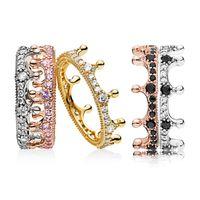 Wholesale tanzanite rings resale online - Cross border burst rose gold powder magic crown stacking ring Europe and the United States fashion dream princess ring girl
