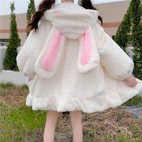 Cute Ears Faux Fur Teddy Coat Women Winter Lolita Kawaii Plush Hooded Jacket Female Warm White Fluffy Overcoat Outerwear