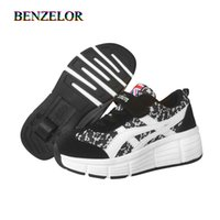 Wholesale wheel shoes resale online - BENZELOR shoes for Boys girl sneakers with wheels roller children shoes student kids fashion sneakers Y1118