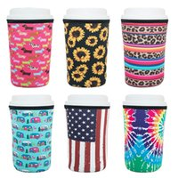 Iced Coffee Sleeve Neoprene Cold Drinks Beverages Insulator 30oz 20oz 16oz Printed Cup Holder Reusable Cups Accessories 19 Designs YG938
