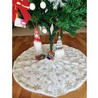 ingrosso fiocchi di neve-White Christmas Tree Skirt 90cm Plush Sequin Christmas Tree Skirt Christmas Tree Decorations Cashmere Snow Flake HH9-3654