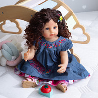 Wholesale toddler reborn for sale - Group buy NPK CM Toddler doll original full body soft silicone flexible real soft touch reborn baby pincess curly hair fashion girl