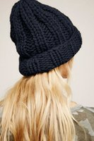 Wholesale ear wigs for sale - Group buy Women Knit Hat Winter Solid Color Simple Thick Wool Warm Ear Protection Hat Europe and America Fashion Beanie