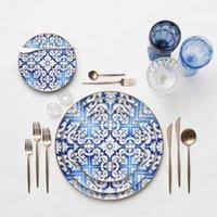 western ceramic wedding dishes Modern bone china dinner plate Gold rim tableware sets easy clean