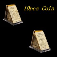 Wholesale gold bullion resale online - 10pcs Masonic Novus Ordo Seclorum Freemasonry Illuminati Symbol Rare k Replica Gold Bullion Bar