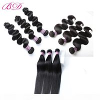 Wholesale bd hair resale online - BD A Cheap Human Hair Bundles Brazilian Body Wave Straight Loose Wave No Shedding inch Deals Fast Shipping