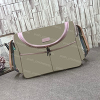 Fashion Diapering Shoulder Bags Coated Canvas Baby Changing Bag Genuine Leather Trim Nursery Bolsa