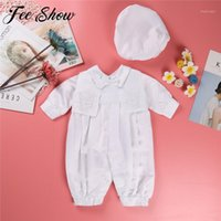 Discount baby christening hats Baby Boys Christening Outfit Infant Boy Wedding Birthday Party Romper Vest Hat Formal Gentleman Suits Baptism Baby Boy Clothes1
