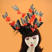Wholesale white butterfly hair accessories resale online - Buttferfly Flower Hat Hair Clip Headwear Women White Red PInk Blue Butterfly Fascinator Hat Party Show Ladies Hair Accessories