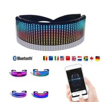 Original APP Control Cyberpunk LED Smart Glasses Multicolored for Party Light Up DIY Message Image Magic Bluetooth Glowling Glasses DHL JP