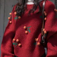 new designer pullovers for women 2021 - 2020 New Cherry Short Christmas Style Pullover Cherry Red Sweater for Women Loose Outer Wear