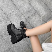 Wholesale goth boots for sale - Group buy Motorcycle Boots Ladies Vintage Combat Autumn Snow Boots Army Punk Goth Women Women Biker PU Leather Short YMB299