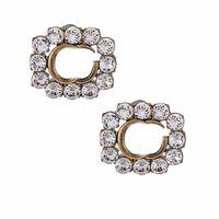 Shiny Rhinestone Earrings Double Letters Studs Women Brand Charm Earrings Girl Studs Jewelry Diamond Earrings Crystal Studs