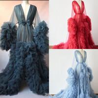 Chic Illusion Ruffles Tulle Long Sleeve Women Winter Sexy Kimono Pregnant Party Sleepwear Women Bathrobe Sheer Nightgown Robe Shawel