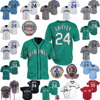 Ken Griffey Jr Jr. Jersey 2016 Hall Of Fame Retirement Patch 1995 1997 Green White Green Navy Cream Pullover Stitched