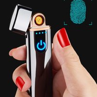 Wholesale rechargeable flameless lighters resale online - USB Rechargeable Lighters Electronic Cigarette Lighter Flameless Touch Screen Switch Colorful Windproof Lighter HWD3248