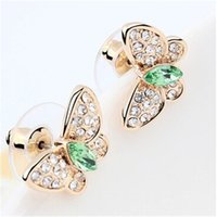 Wholesale swarovski earrings resale online - Designer Brand Jewellery High Quality Crystal From Swarovski Elements Butterflies Stud Earrings Women Fashion