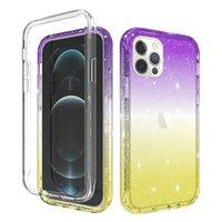 Wholesale colour iphone for sale – best For iPhone Mini Pro Max XS XR Plus SE PC TPU Glitter Hybrid Phone Case Gradient Colour
