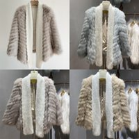 Wholesale fur strips for sale - Group buy Winter New Real Fox Full Pelt Strip Sewed Toghter Knitted Fur Short Fashion Coat OTVM