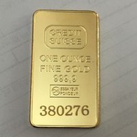 Wholesale gold bullion resale online - 10 Non Magnetic CREDIT SUISSE ingot oz Gold Plated Bullion Bar Swiss souvenir coin gift x mm with different serial laser number