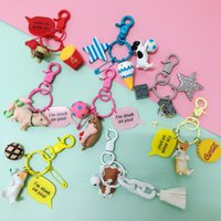 Wholesale talking dogs for sale - Group buy Wooddog Hunting Doll Chain Pendant Dog Couple Bag Key Ring Hanging Creative Gift KTR