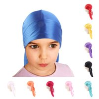 Wholesale ear wigs resale online - Kids Baby Silky Durag Long Tail Dorag Durags Satin Turban Wigs Headwrap Children Fashion Headband Pirate Hat Headscarf Hip Hop Caps E112701