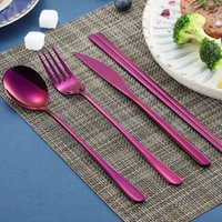 Discount korean stainless steel chopstick Korean flatware sets stainless steel long handle knife fork spoon chopsticks set colorful flatware for wedding kitchen accessories YHM295-1