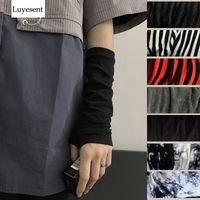 Wholesale black arm warmers for sale - Group buy Black Punk Gothic Unisex Fingerless Gloves Manchet Women Ninja Men Sports Outdoor Elbow Length Walls Cool Stretch Arm Warmer