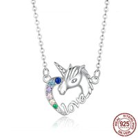 Wholesale aurora online – custom Luxury Designer Halloween Japanese and Korean Hipster Aurora Glass Necklace Dreamy Colorful Unicorn Cute Crystal Necklace Q1121