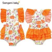 Wholesale little pumpkin baby clothes resale online - Newborn Cartoon Romper Halloween Pumpkin Little Floral Onesies Infant Clothes Baby Girls Ruffle Backless Bodysuit