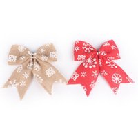 Wholesale decoration rustic resale online - 1Pc Simple Rustic Burlap Snowflake Bow Knot Bow Tie For Christmas Tree Decoration Natural Color Primary Color FWD3100
