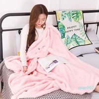 Wholesale blanket hoodie resale online - 1 x1 m Long ears cape blanket with gloves thick solid color lazy quilt wearable throw plush hoodie TV blanket girl gift