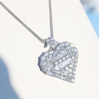 Wholesale pendent necklaces for sale - Group buy Cubic Zircon Heart Pendent Necklaces for Women Love Charm Birthday Gift Wedding Party Dazzling Diamond Necklace Vintage Statement Jewelry
