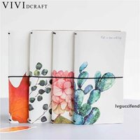 Wholesale composition books for sale - Group buy Vividcraft Creative Cactus Leaves PU Leather Cover Planner Notebook Diary Book Exercise Composition Binding Note Notepad Gift