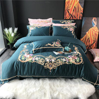 royal blue bedding 2021 - 35 60S Egyptian cotton Green Pink Blue White Royal Embroidery Bedding Set Duvet Cover Bed sheet Bed Linen Pillowcases 4pcs