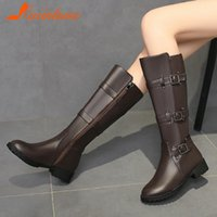 Wholesale zip ride resale online - 2021 New Brand Fashion Shoes Women Riding Boots Solid Buckle Straps Round Toe Zip Up mid calf Woen Booties Footwear