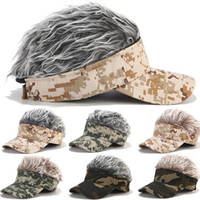 Wholesale designer baseball hats for men for sale - Group buy Wig Camouflage Baseball Cap Hairpiece Street Trend Hat Women And Men Casual Sport Golf Cap For Adjustable New Caps Sun Protection ZY45