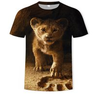Discount lion king 3d shirt 2020 New Animal Funny King T-shirt Men's Summer 3D Printing Lion Top 3DT Shirt Q1126