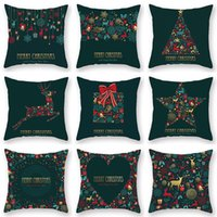 Wholesale fedex prints resale online - DHL Fedex Christmas Green Cotton Hot Stamping Pillowcase Christmas Decoration for Home Party Decor Kerst New Year