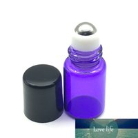 Discount free samples perfume 20pcs Perfume Sample 2ml Purple-Blue Glass Roller Bottle for Essential Oil Refillable Roll On Bottle Free Shipping