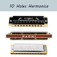 NAOMI Professional Blues Harp 10 Hole Harmonica Bules Diatonic Harp Wooden body Key of C Christmas Gift