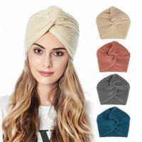 Wholesale indian knitting resale online - 10 Colors Autumn Winter Hat Women Knitted Indian Hat Solid Color Cross Crochet Beanie Cap for Lady Accessories M3091